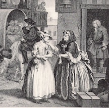Hogarth—a bawd from a brothel enticing a country girl newly arrived in London