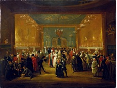 Masquerade at the King's Theatre in Haymarket.  Dated 1724, Wikimedia Commons.