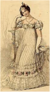A fashion plate of a white wedding dress from the June 1816 issue of Ackerman's Repository.
