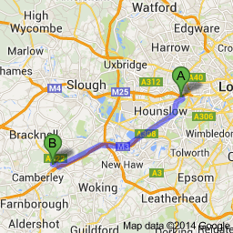 brentford to bagshot map