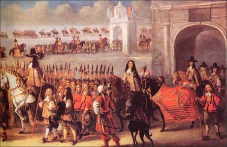 Charles II riding into London