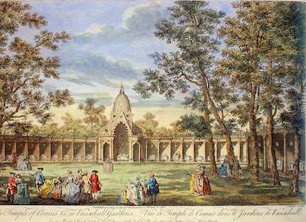 J.S. Muller after Canaletto,   A View of the Temple of Comus &c. in Vauxhall Gardens, an engraving hand-colored, 1751 (David Coke's collection). Families with small children are promenading in the foreground.