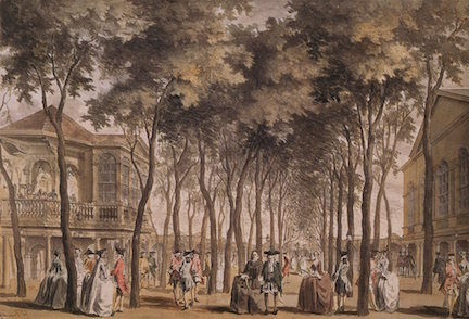 John Donowell, A View of the Orchestra with the Band of Music, the Grand Walk &c. in Marybone Gardens, watercolor, 1755.