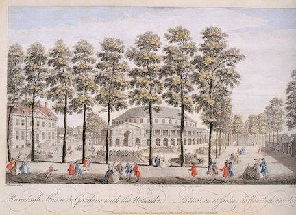 T. Bowles after J. Maurer. Raleigh House and Gardens with the Rotunda, engraving, 1745.