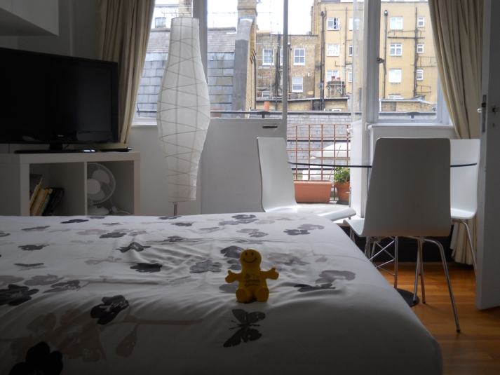 Squidgeworth makes himself at home at our rental flat near Baker Street