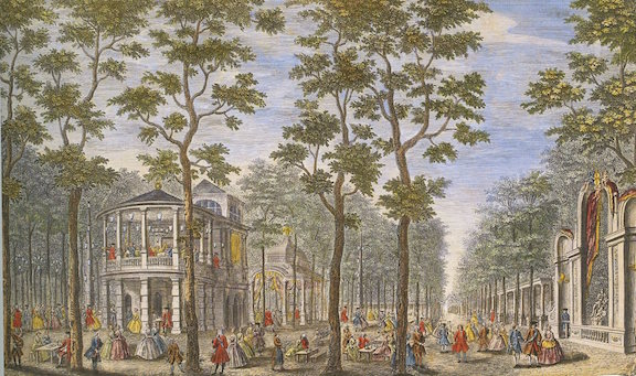 J. Maurer, A Perspective View of Vaux Hall Garden, etching, hand-coloured, 1744 (David Coke's collection). The view looking down the Grand South Walk before the classical triumphal arches were installed, with Roubiliac's Grand Alcove on the right.