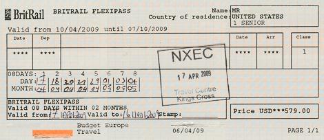 BritRailFlexiPass2009