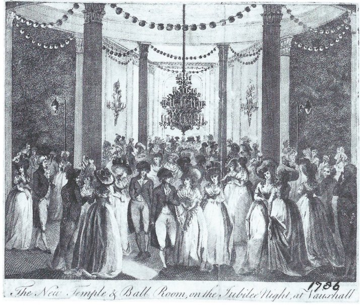J. Wooding, The New Temple & Ball Room, on the Jubilee Night, at Vauxhall, engraving, c. 1786. The circular Grand Temple at the junction of the Grand South Walk and the Centre Cross Walk, with the temporary ballrooms added to its north and south. The artist was keen to show all the different forms of lighting in use.