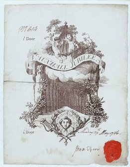 Ticket for the Vauxhall Jubilee, 29 May, engraving. Signed, dated and sealed by Jonathan Tyers the younger, although the management of the park was now in the hands of his son-in-law, Bryant Barrett.