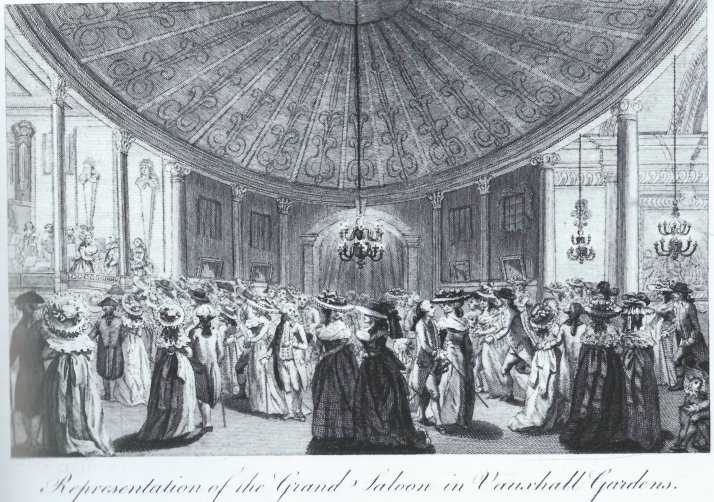 Anon., Representation of the Grand Saloon in Vauxhall Gardens, engraving, after 1786. An unusual view of the renovated Rotunda interior, taken from the entrance off the Grand Walk. The Rotunda Orchestra is on the left, and one of Hayman's paintings from his Seven-Years War series is visible in the Pillared Saloon on the right.