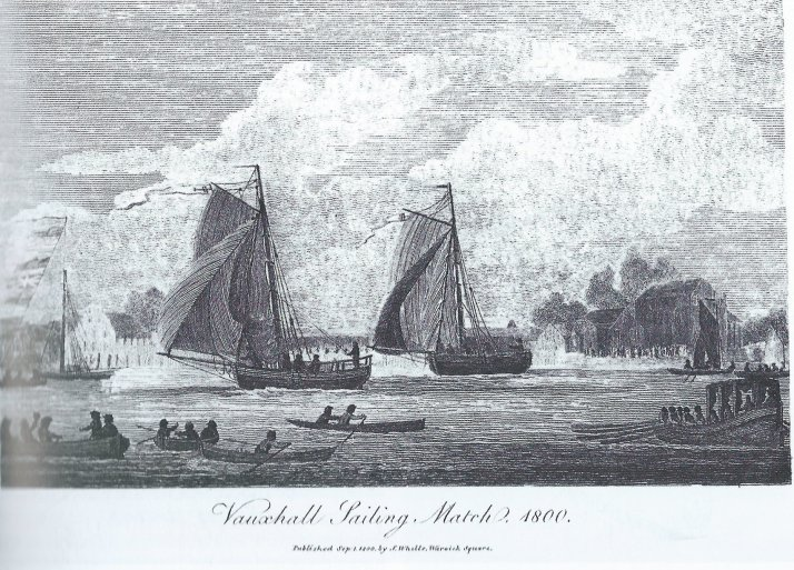 Vauxhall Sailing Match, engraving, 1800 (Minet Library, London, Lambeth Archives Department, V. fo. 57). This appears to be the only surviving image of one of the Vauxhall sailing matches.