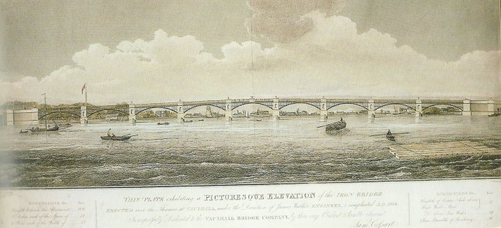 Picturesque Elevation of the Iron Bridge created over the Thames at Vauxhall, engraving, 1816 (David Coke's collection). Designed by the engineer James Walker, the new bridge greatly shortened the land journey from London to Vauxhall Gardens.