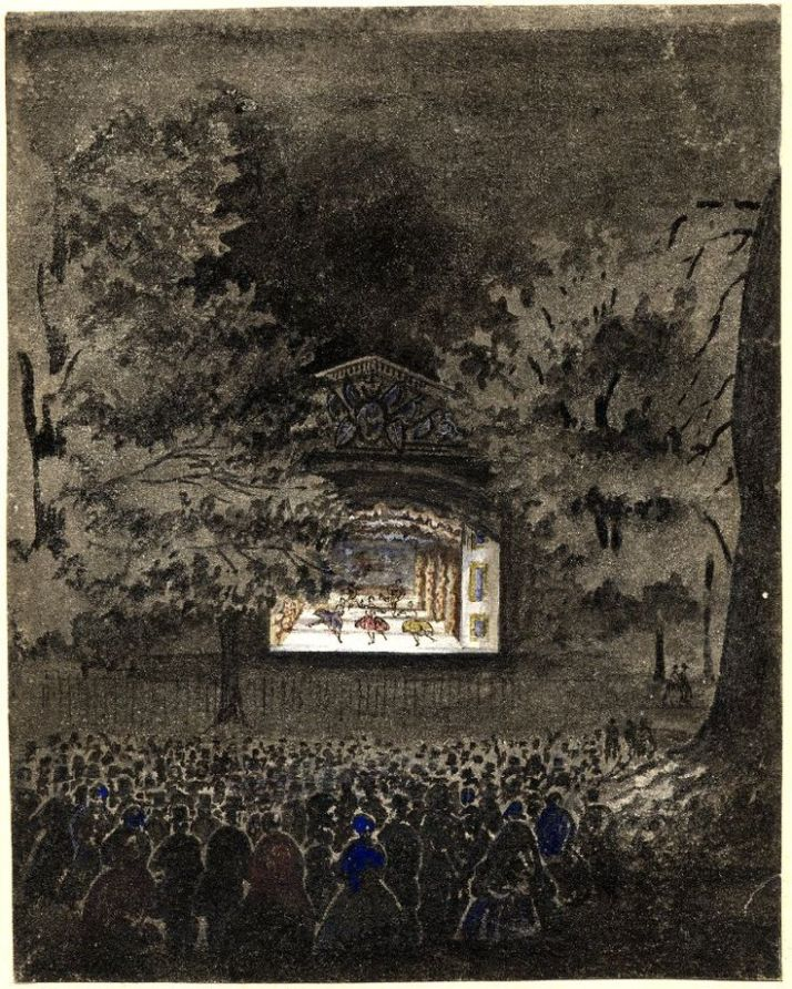 Anon., The Ballet Theatre, brush drawing in grey wash, touched with colored chalks, 1840-45 (British Museum, London, 1966.0212.1). The stage is surrounded by large trees and there is no seating provided.