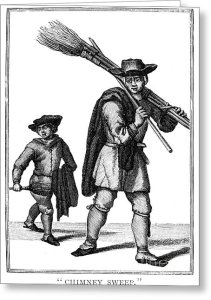 CHIMNEY SWEEP. A chimney sweep and his young helper. Line engraving, English, 18th century.