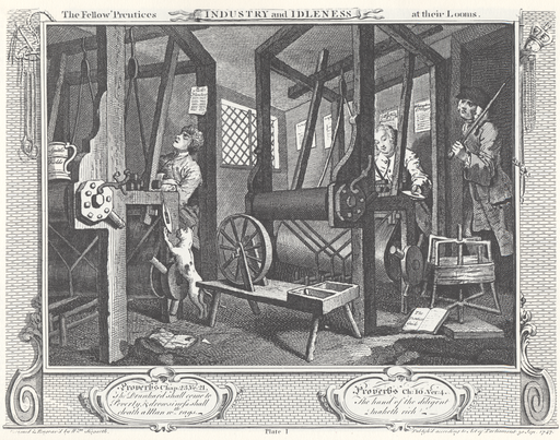 1William_Hogarth_-_Industry_and_Idleness,_Plate_1;_The_Fellow_'Prentices_at_their_Looms