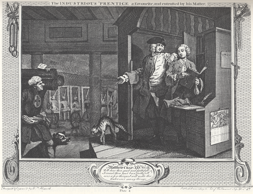 4William_Hogarth_-_Industry_and_Idleness,_Plate_4;_The_Industrious_'Prentice_a_Favourite,_and_entrusted_by_his_Master