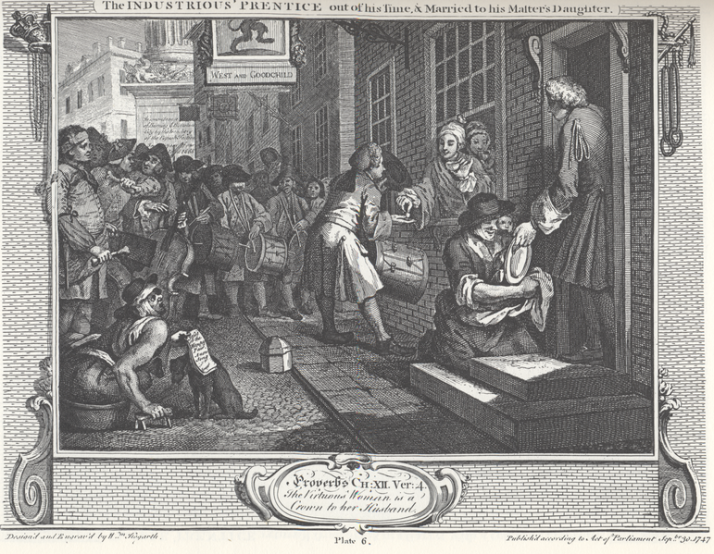 william_hogarth_-_industry_and_idleness_plate_6_the_industrious_prentice_out_of_his_time__married_to_his_masters_daughter