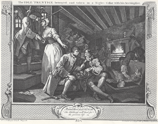 william_hogarth_-_industry_and_idleness_plate_9_the_idle_prentice_betrayed_and_taken_in_a_night-cellar_with_his_accomplice
