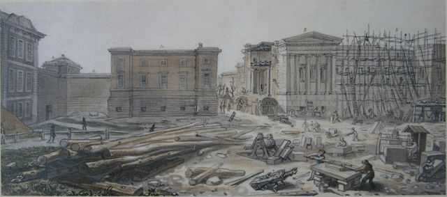 Left to Right: Montagu House, Towny Gallery, and Sir Robert Smirkes' West Wing Under Construction, July 1828