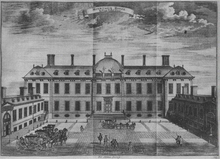 Montagu House drawing by Nicholas Sutton, published in 1754