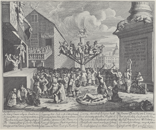 "William Hogarth, Emblematical Print on the South Sea Scheme (1721). In the bottom left corner are Protestant, Catholic, and Jewish figures gambling, while in the middle there is a huge machine, like a merry-go-round, which people are boarding. At the top is a goat, written below which is ""Who'l Ride"". The people are scattered around the picture with a sense of disorder, while the progress of the well-dressed people towards the ride in the middle represents the foolishness of the crowd in buying stock in the South Sea Company, which spent more time issuing stock than anything else."