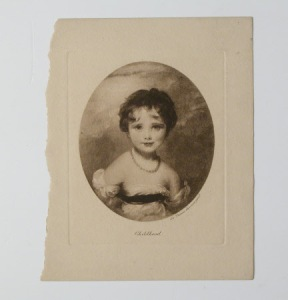 Print; Mezzotint engraving. Childhood: Lady Emily Caroline Catherine Frances Cowper, later Countess of Shaftesbury (1810-1872) after Sir Thomas Lawrence.Half length portrait of a child, a string of pearls round her neck. Unframed.
