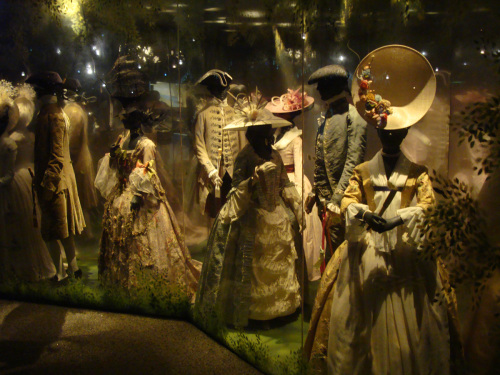 This a photo taken from a scene you can see at the Museum of London. The costumes are too early, of course, but Lady P would not let me bring a camera along.