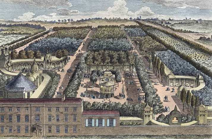 The Grove in the middle; the house in the foreground is the Prince's Pavilion